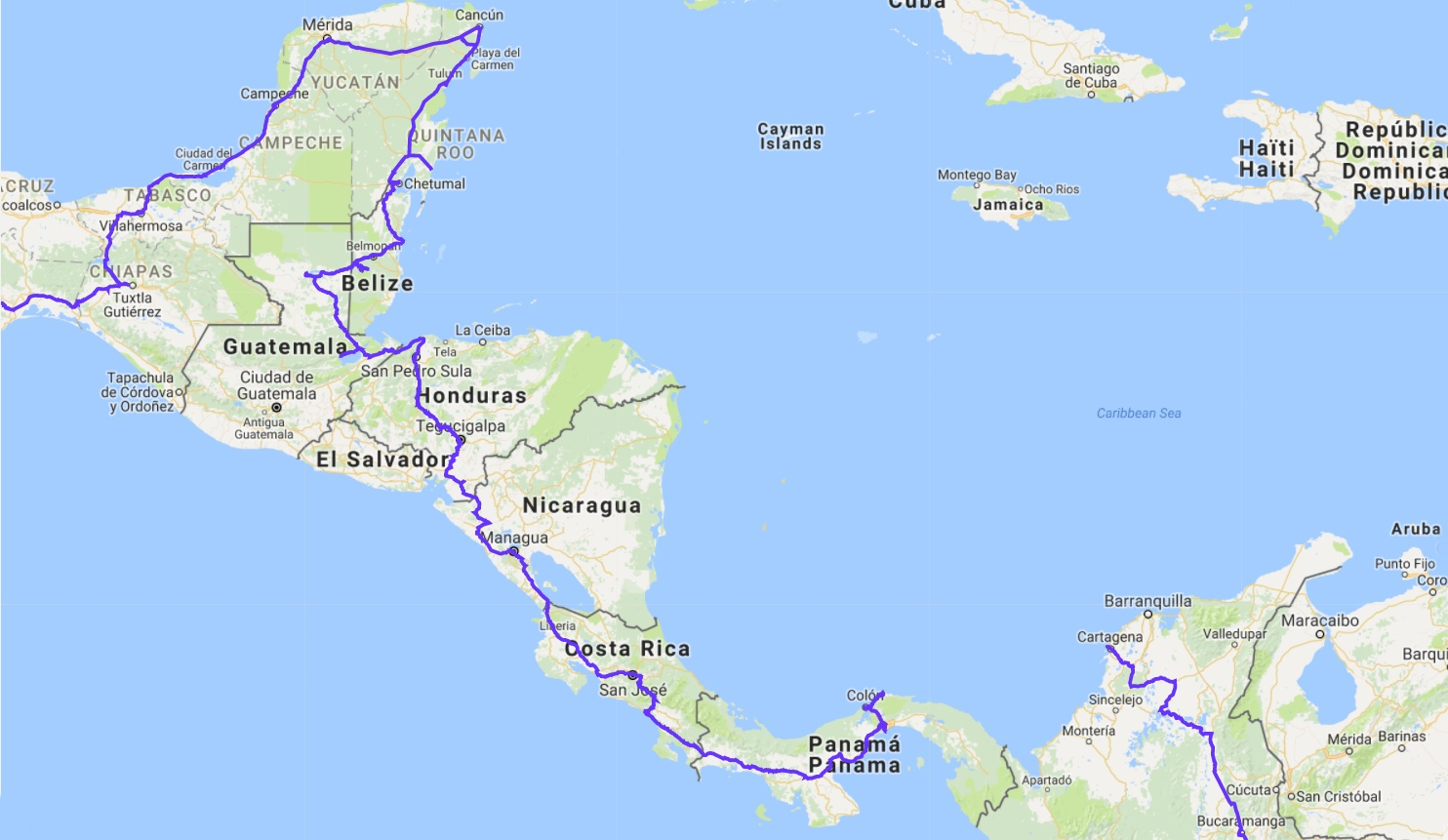 Střední Amerika trasa WayAway