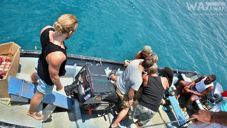 Nakládání Brambory na plachetnici