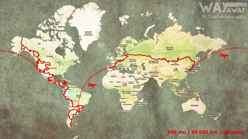WayAway - Na Bramboře kolem světa, ujetá trasa