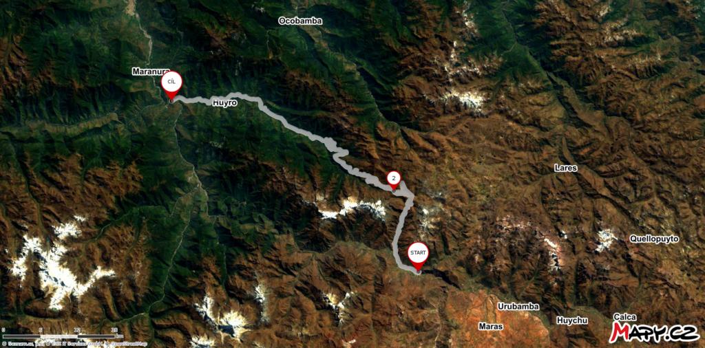 Ollantaytambo až Santa María MAPA
