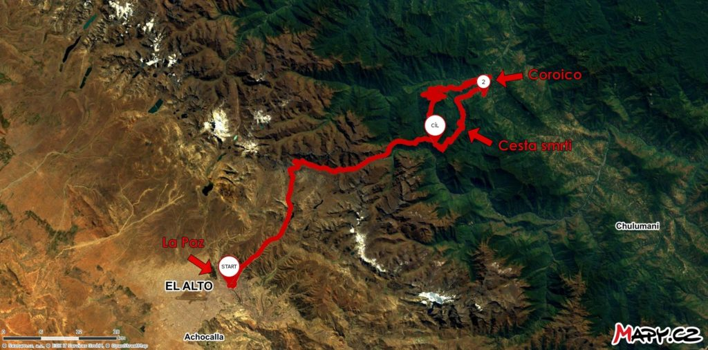 Trasa La Paz - Coroico - Cesta smrti