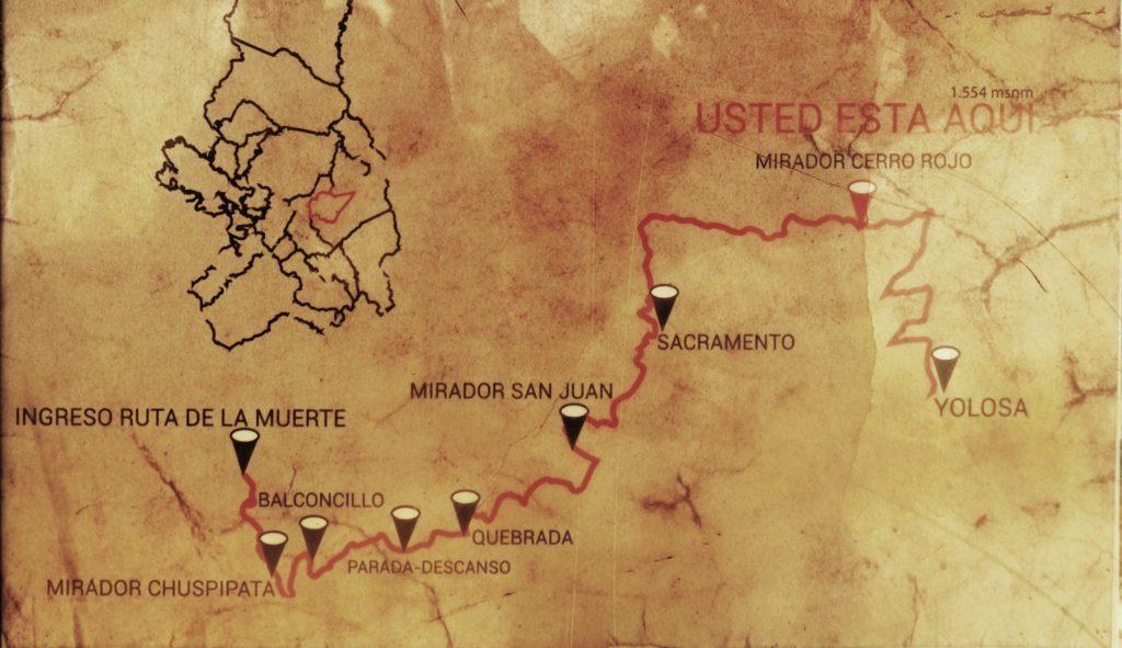 Severní část cesty smrti - mapka