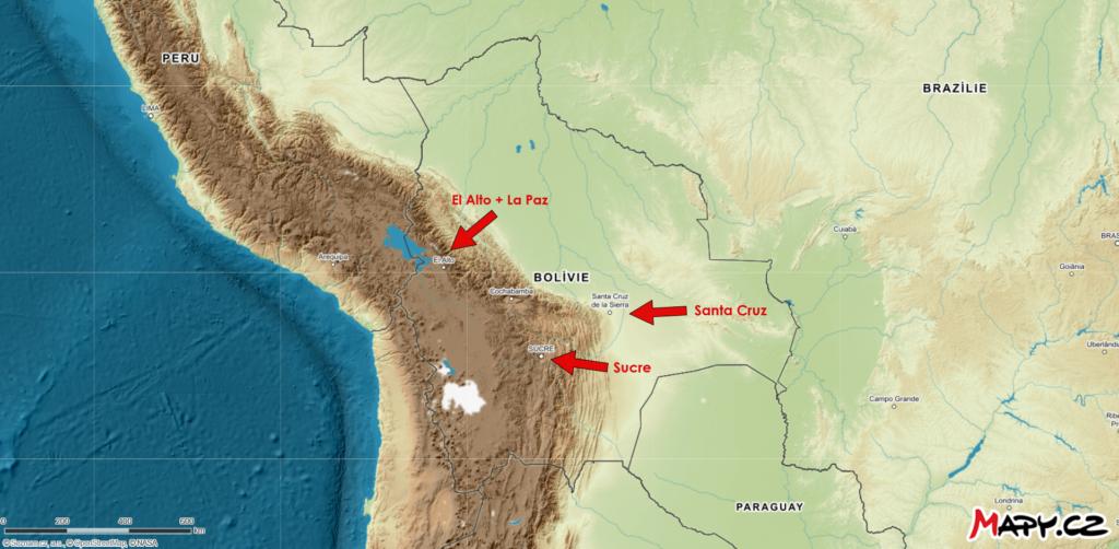 Nejdůležitější centra v Bolívii